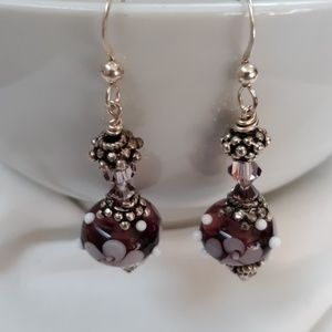 Jewelry - Silver and Artisan Blown Glass Bead Earrings